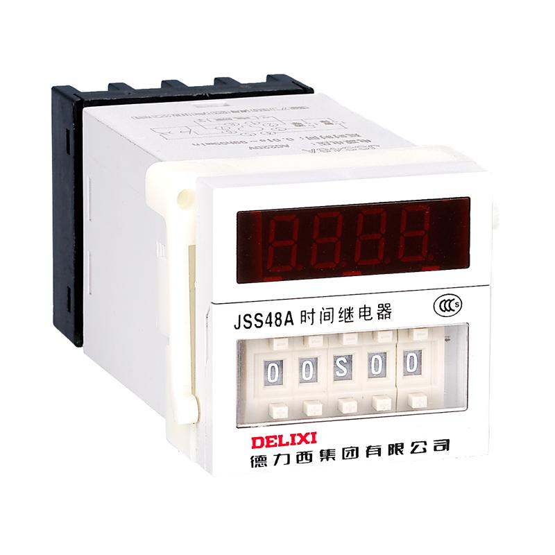 """本系列产品主要由电压变换器、整流稳压器、晶体振荡/分频/计数器、电子开关、拨码开关、及执行继电器等组成的""""元器件组合""""部件和外壳、上插等部件组成 本系列产品采用集成电路、晶体振荡器,用拨码开关进行时间整定,延时范围宽、整定直观、使用方便、功耗小、寿命长,具有较高的延时精度和较强的抗干扰能力"""